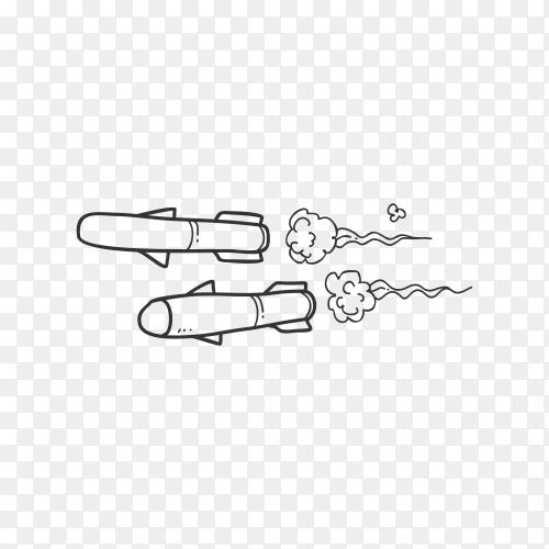 Cartoon rockets flying on transparent background PNG