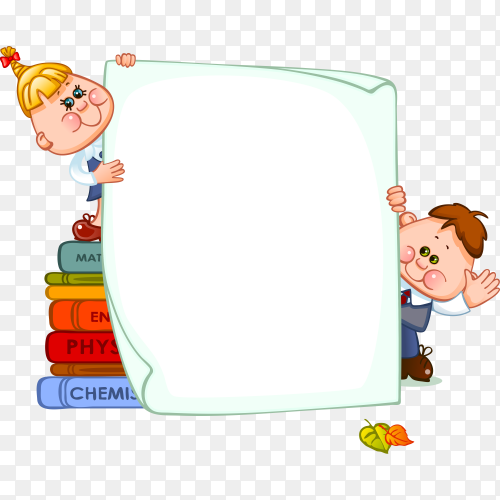 Cartoon school children with blank paper on transparent background PNG