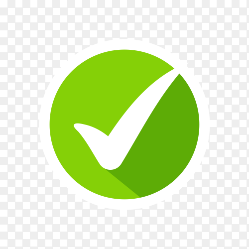 Check Mark Isolated Icon. Checklist button icon. Check mark, tick vector icon. Check mark Icon on transparent background PNG