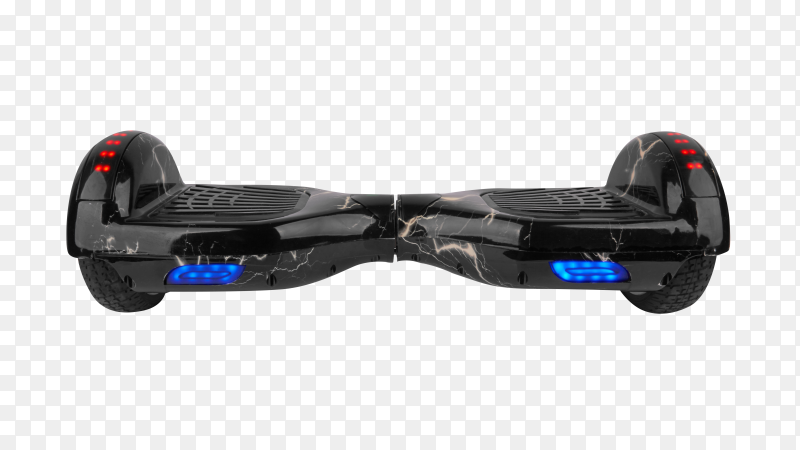 Classic Hoverboard Segway in black on transparent background PNG