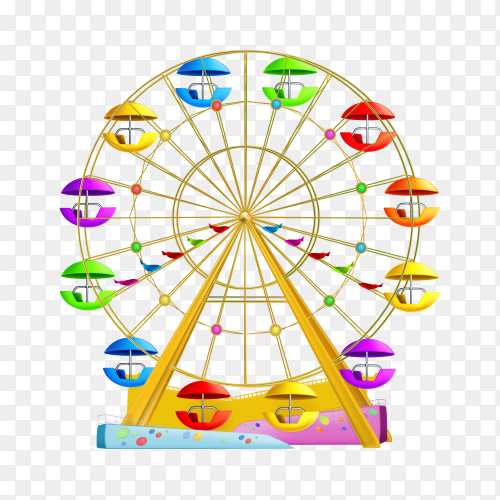 Colorful Ferris wheel isolated on transparent background PNG