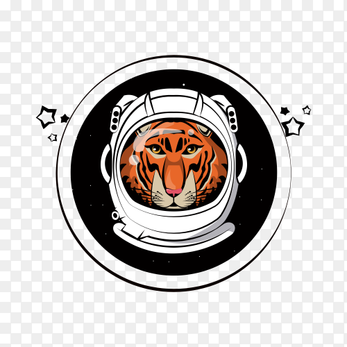Cool tiger in astronaut helmet on transparent background PNG