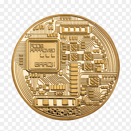 Cryptocurrency bitcoin gold coin isolated on transparent background PNG
