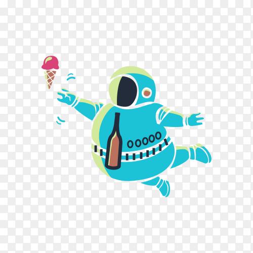Cute astronaut Cartoon design on transparent background PNG
