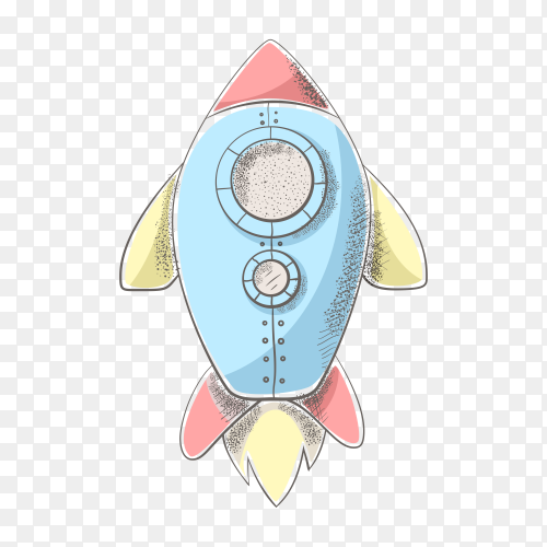 Cute cartoon rocket illustration on transparent background PNG