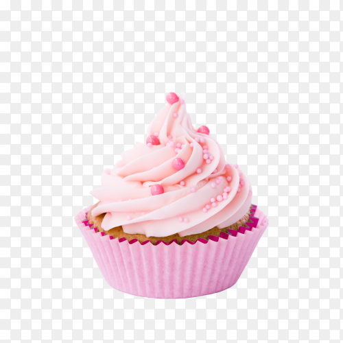 Delicious pink cupcake isolated on transparent background PNG