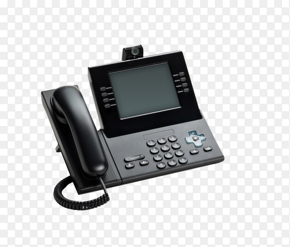 Desktop IP phone with white insulated LCD on transparent background PNG