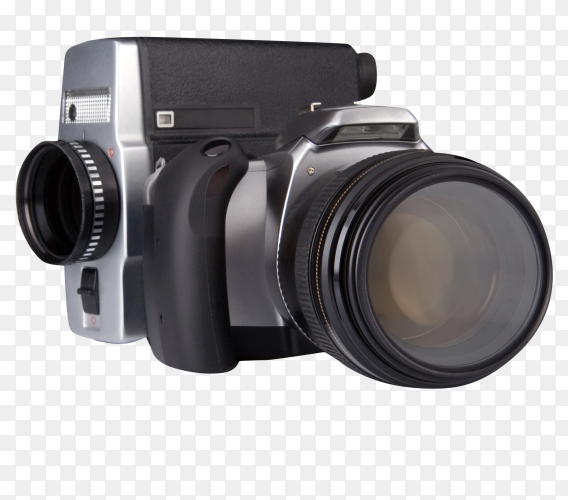 Digital photo and film camera isolated on transparent background PNG