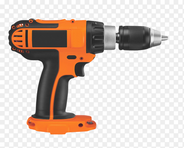 Electric drill mock-up on transparent background PNG