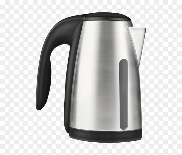 Electric stainless steel kettle isolated on transparent background PNG