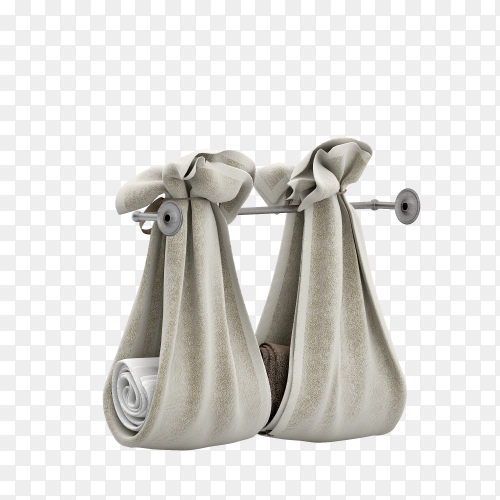 Folded towels 3d isolated render on transparent background PNG