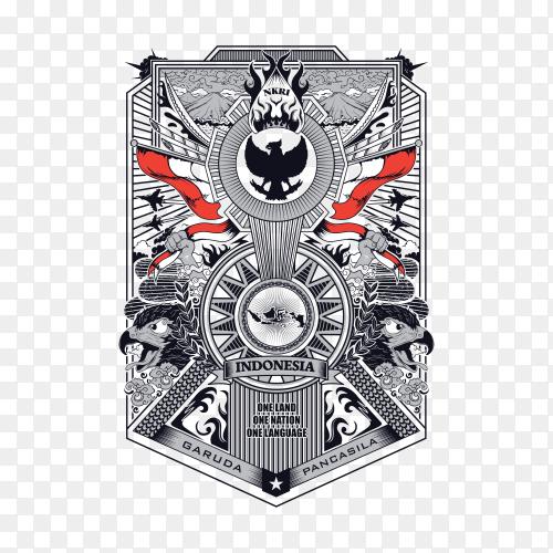 Frame of garuda pancasila Indonesia illustration on transparent background PNG