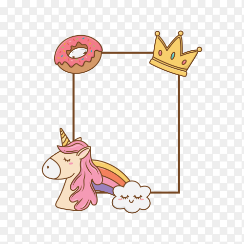 Frame with donuts crown unicorn on transparent background PNG