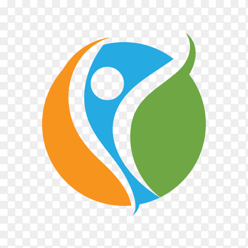 Fun people Healthy Life Logo template icon on transparent background PNG