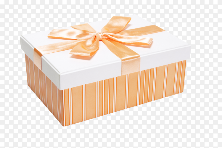Gift box wrapped with orange ribbon on transparent background PNG