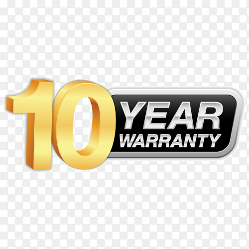 Gold badge warranty of 10 years isolated on transparent background PNG
