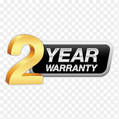 Gold badge warranty of 2 years isolated on transparent background PNG