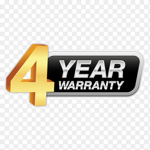 Gold badge warranty of 4 years isolated on transparent background PNG