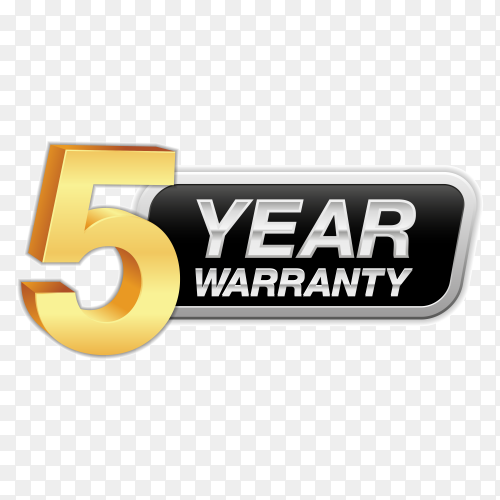 Gold badge warranty of 5 years isolated on transparent background PNG