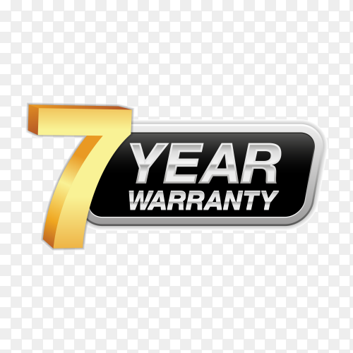 Gold badge warranty of 7 years isolated on transparent background PNG