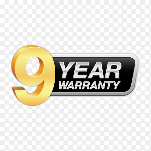 Gold badge warranty of 9 years isolated on transparent background PNG