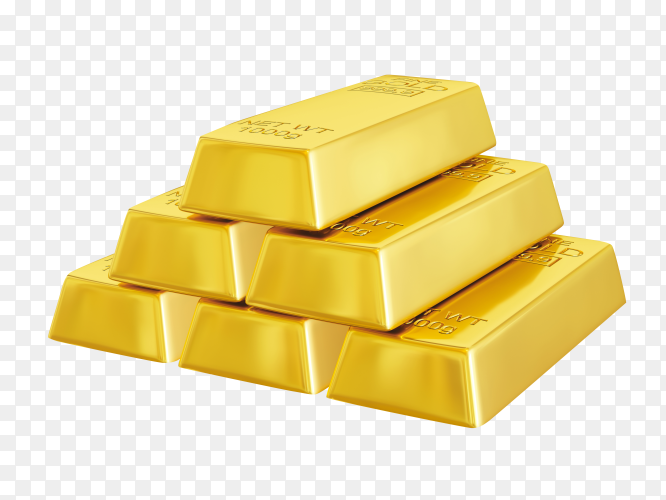 Gold bars isolated on transparent background PNG
