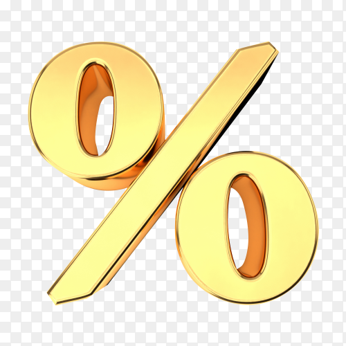 Golden percentage sign isolated on transparent background PNG