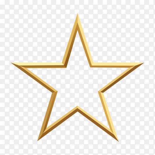 Golden star on transparent background PNG