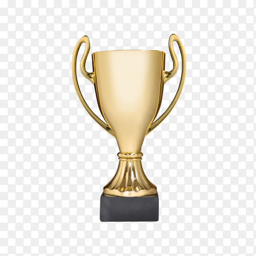 Golden trophy on transparent background PNG