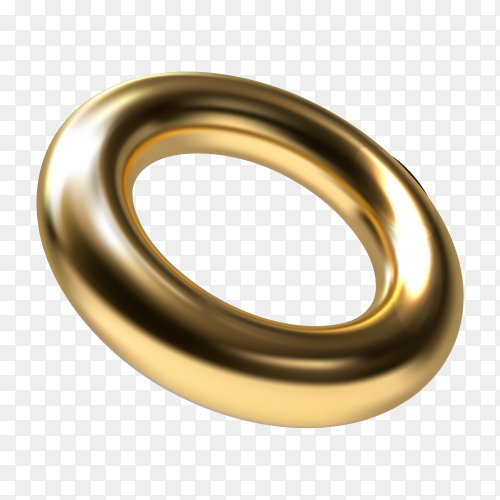 Golden ring geometric on transparent background PNG