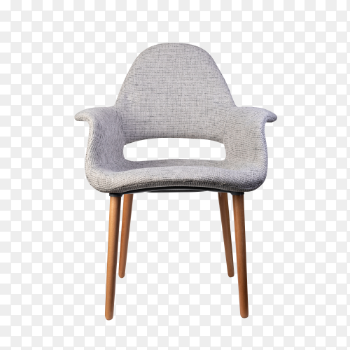 Gray modern Armchair on transparent background PNG
