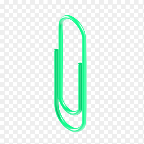 Green 3d isometric stationery paper clip on transparent background PNG