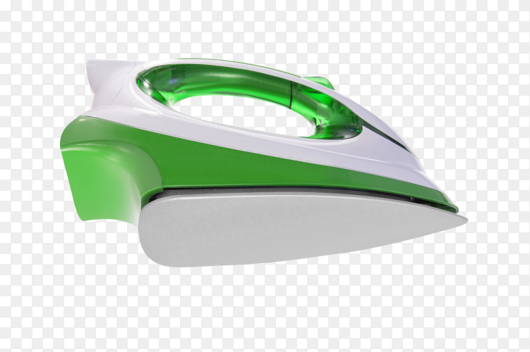 Green and white iron with steam on transparent background PNG