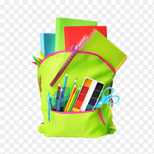Green school bag full of school supplies isolated on transparent background PNG