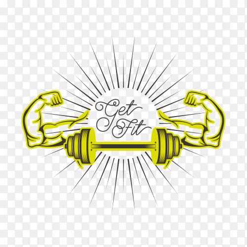 Gym logo design template on transparent background PNG