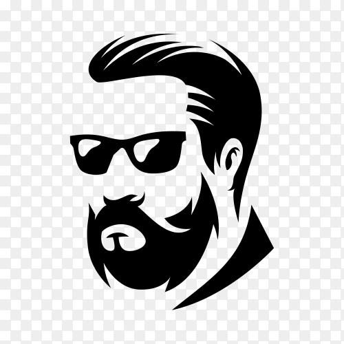 Hairstyle barber shop logo design on transparent background PNG