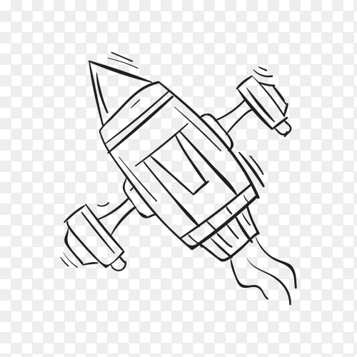 Hand Drawing rocket Space icon on transparent background PNG