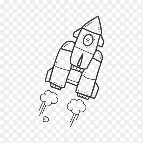 Hand drawn rocket on transparent background PNG