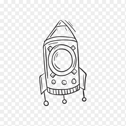 Hand drawing rocket icon design on transparent background PNG