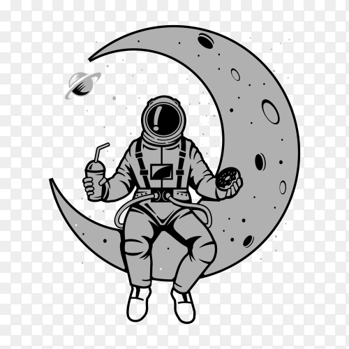 Hand drawn Astronaut sitting on crescent moon and eating on transparent background PNG