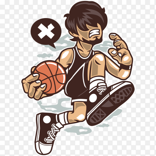 Hand drawn Basketball Player on transparent background PNG