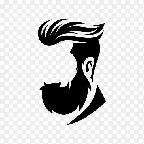 Hand drawn Beard barber logo on transparent background PNG