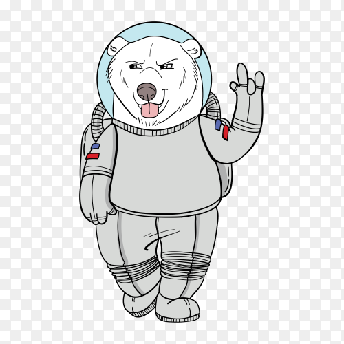 Hand drawn bear astronaut illustration on transparent background PNG