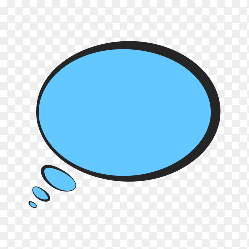 Hand drawn blue speech bubble on transparent background PNG