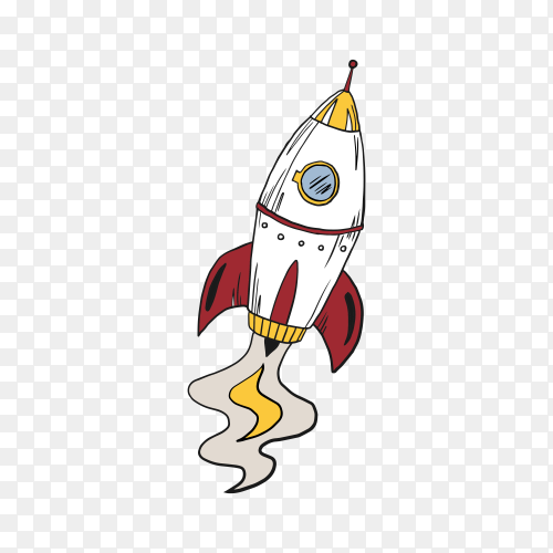 Hand drawn cartoon rocket on transparent background PNG