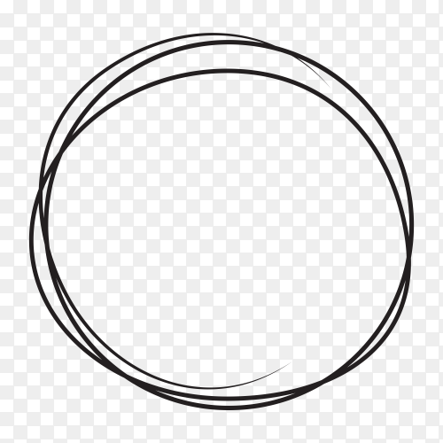 Hand drawn circle line sketch . art design round circular scribble on transparent background PNG