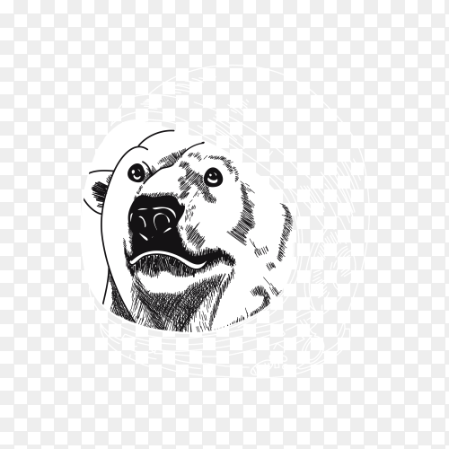 Hand drawn cool bear astronaut design on transparent background PNG