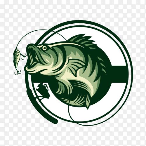 Hand drawn fishing logo design illustration transparent background PNG