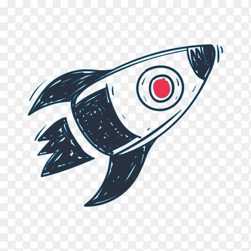 Hand drawn sketch rocket illustration on transparent background PNG