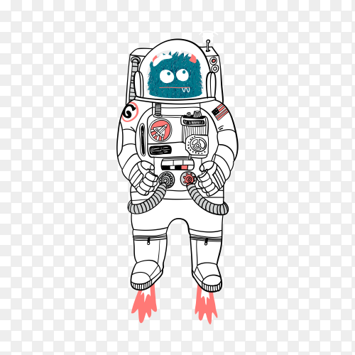 Hand drawn space monster with astronaut uniform on transparent background PNG